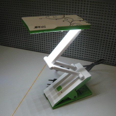 Лампа диодная раскладная настольная с прищепкой